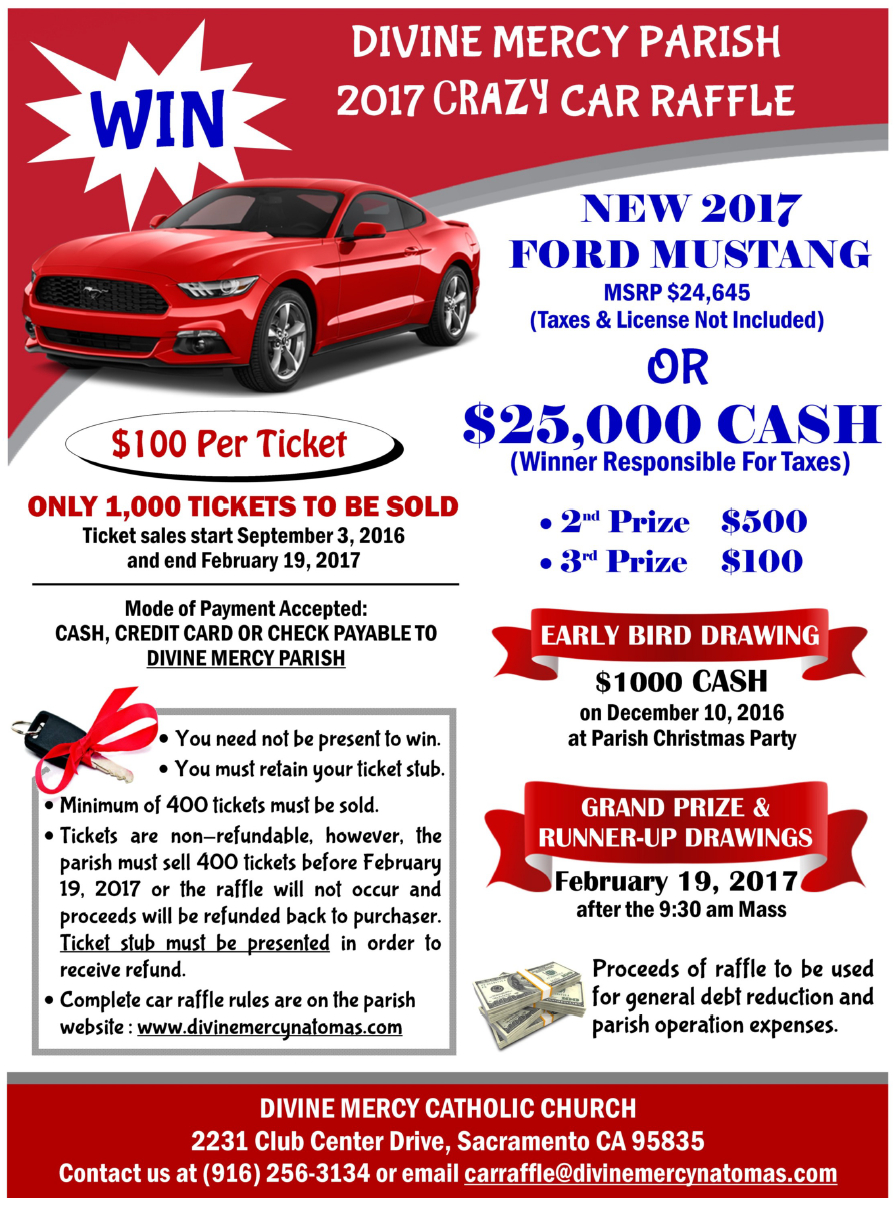 car raffle tickets
