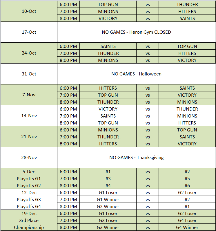 2014 League Schedule